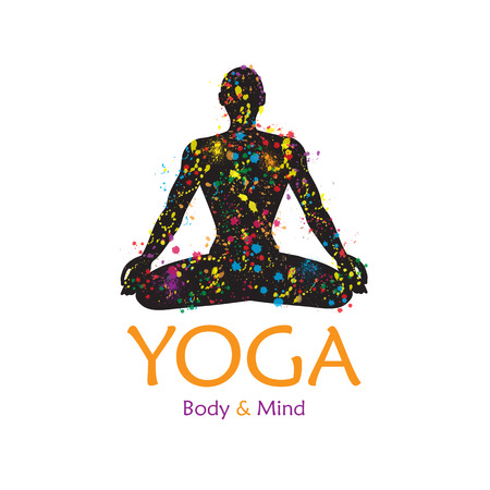 yoga meditation: Poster for yoga studio or meditation class. Vector yoga illustration.