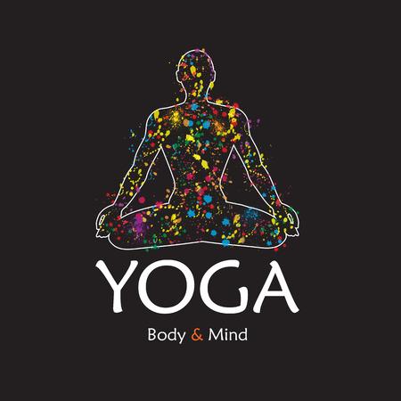 Poster for yoga studio or meditation class. Vector yoga illustration.