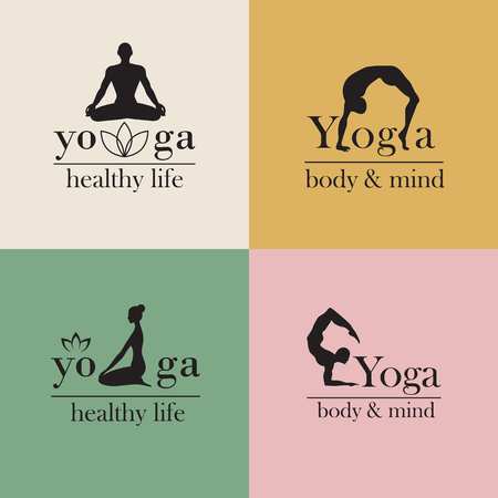 yoga meditation: Set of logos for yoga studio or meditation class.