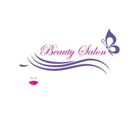 Beautiful woman face vector logo template for hair salon, beauty salon, cosmetic procedures, spa center. Stock Illustratie