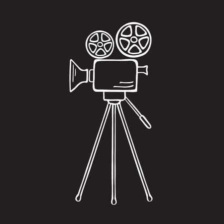 Movie camera isolated vector sketch