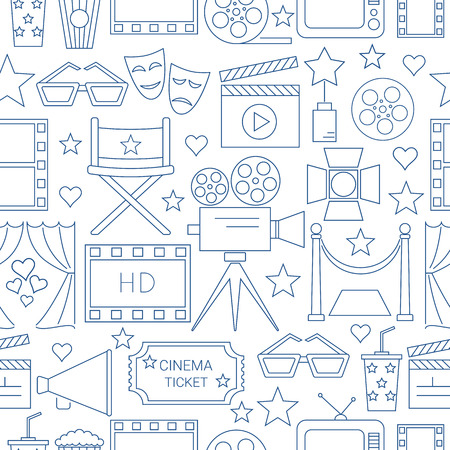 Movie Vector Seamless Pattern Background With Cinema Line Icons