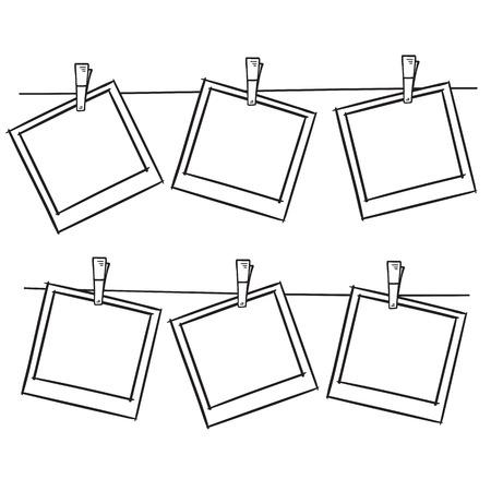 Photo frames on rope doodle sketch, vector.