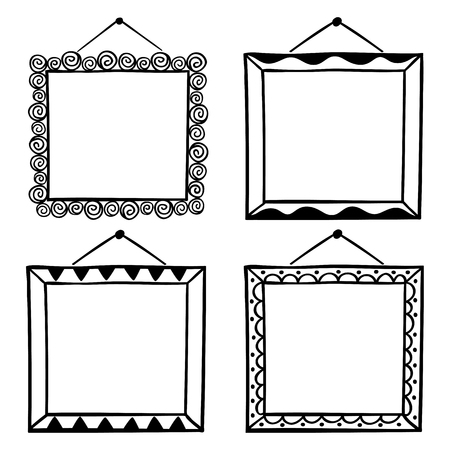 Vector set of hanging picture frames, hand drawn doodle style, isolated on white background.
