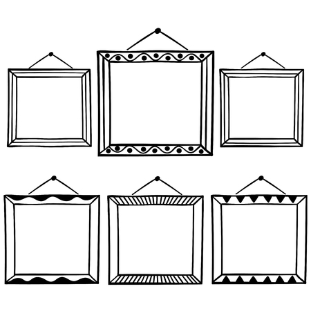 Vector Set Of Hanging Picture Frames, Hand Drawn Doodle Style ...