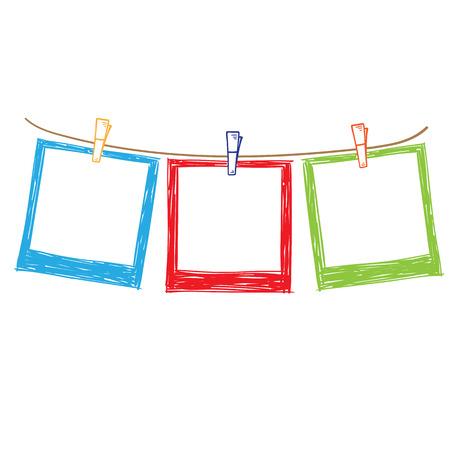 Photo frame on rope doodle sketch, vector Vetores