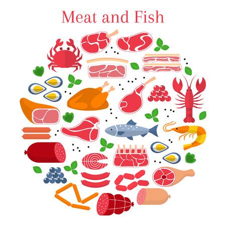 Diferentes tipos de carne y pescado, carne de res, cordero, cerdo, pollo, salchichas, cangrejo, salmón, langosta, camarones, ostras y caviar, aislados en fondo blanco