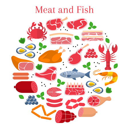 Different kinds of meat and fish, beef steak,lamb, pork, chicken, sausages, crab, salmon, lobster, shrimp, oyster and caviar, isolated on white background Ilustração