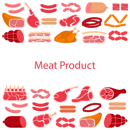 Vector flat design of card template with different kinds of meat products