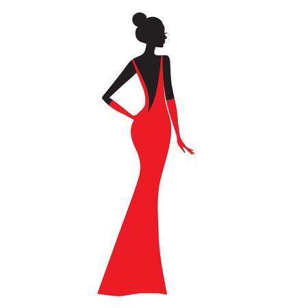 Fashion model. Silhouette of beautiful woman in red dress vector illustration. Illusztráció