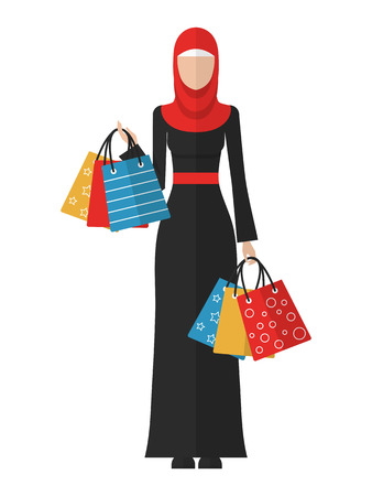 Vector flat illustration of a beautiful young muslim woman with shopping bags. Arab woman shopping icon.