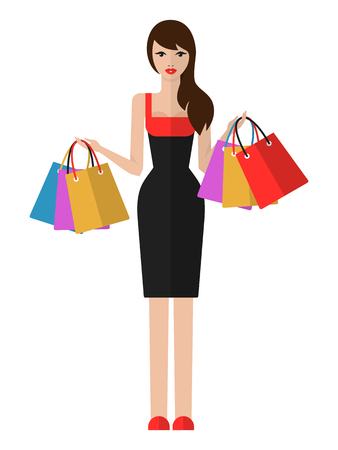 Vector flat illustration of a beautiful young woman with shopping bags. Shopping woman isolated on white background. Illustration