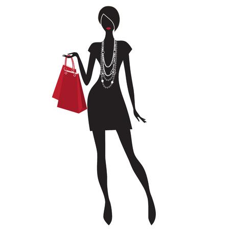 買い物袋を持つ美しい若い女性のベクトル イラスト。女性は、白い背景で隔離のショッピング。