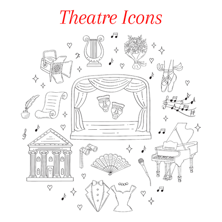 Vector set of theater icons hand drawn, doodle.