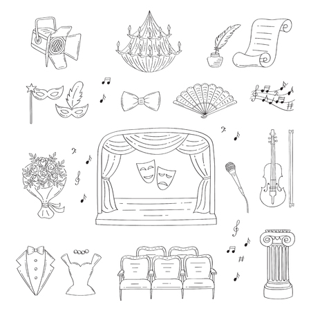 Vector set of theater icons hand drawn, doodle. 版權商用圖片 - 76502173