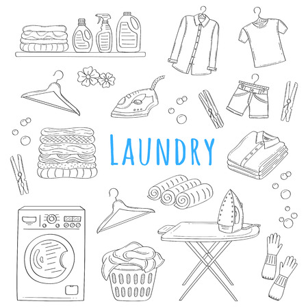 Laundry service hand drawn doodle icons set, vector illustration. Vettoriali