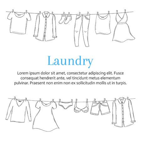 Laundry service banner template with male and female clothes hanging on clothesline, hand drawn sketch, vector illustration.