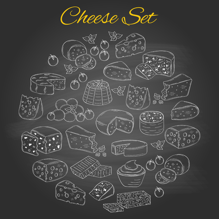 Vector set of various types of cheese, hand drawn illustration isolated on chalkboard background.