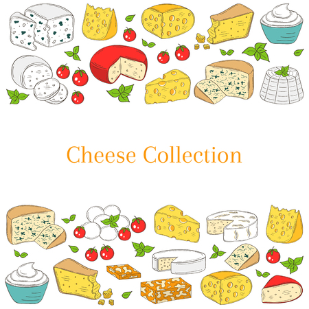 Vector Banner template with different types of cheese, hand drawn illustration.