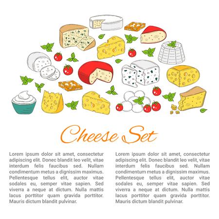 チーズの種類とバナー テンプレートをベクトル、手描き下ろしイラスト。  イラスト・ベクター素材