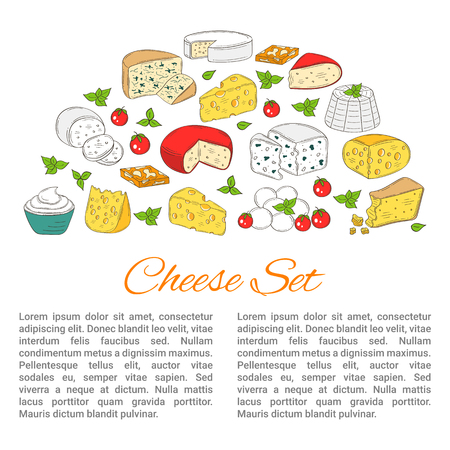 stilton: Vector Banner template with different types of cheese, hand drawn illustration.