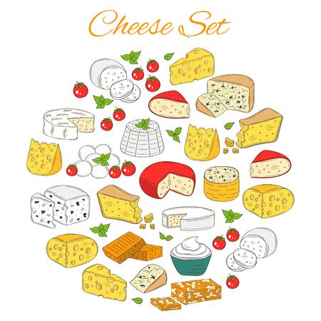 様々 なタイプのチーズのセットをベクトル、白い背景で隔離の描かれた図を手します。