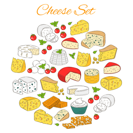 Vector Set of various types of cheese, hand drawn illustration isolated on white background. Иллюстрация