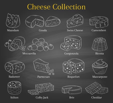 Vector Set of different types of cheese, hand drawn illustration isolated on chalkboard background. Illustration