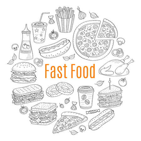 A vector sketch illustration of fast food circular shaped. 向量圖像