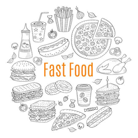 A vector sketch illustration of fast food circular shaped. Illustration