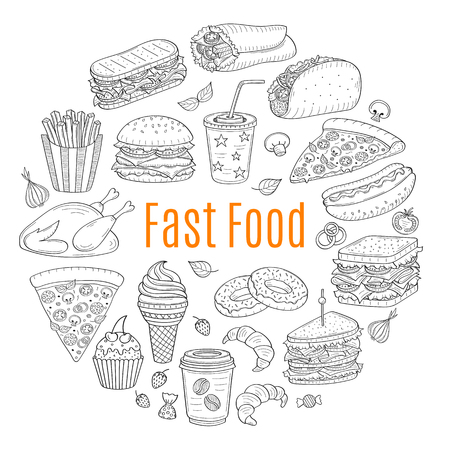 panini vector sketch illustration of fast food circular shaped