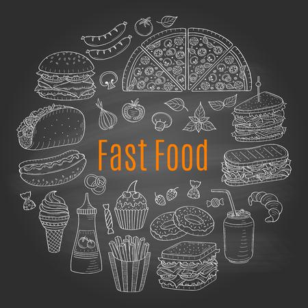 A vector sketch illustration of fast food circular shaped. Vettoriali