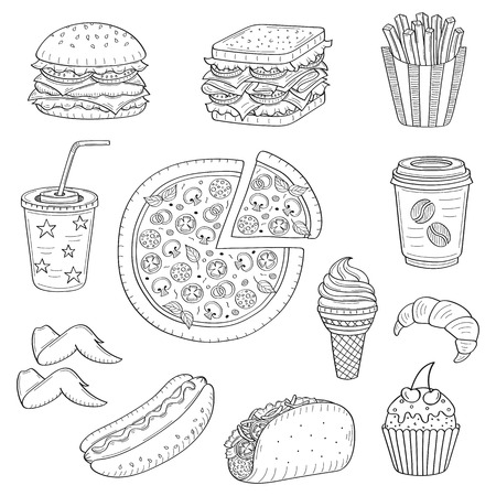 cupcakes isolated: Vector hand drawn illustration of fast food