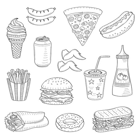 A vector hand drawn illustration of fast food. 向量圖像