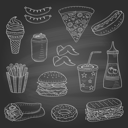 Vector hand drawn illustration of fast food