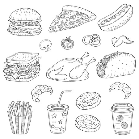 A vector hand drawn illustration of fast food icon.