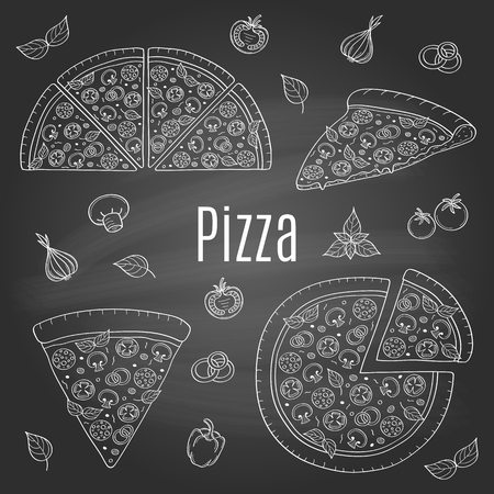 Whole and slices pizza set, hand drawn vector illustration.