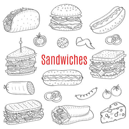 Sandwich set, vector sketch illustration Illustration