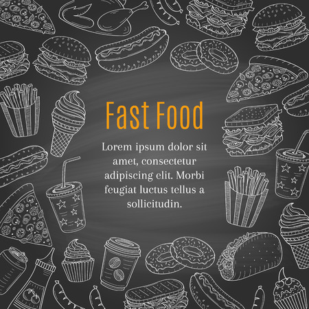Fast food hand drawn vector chalkboard background