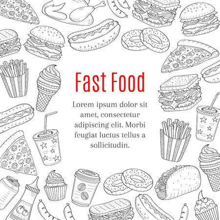 Fast food hand drawn vector background