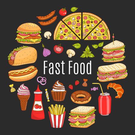 Vector sketch illustration of fast food circular shaped