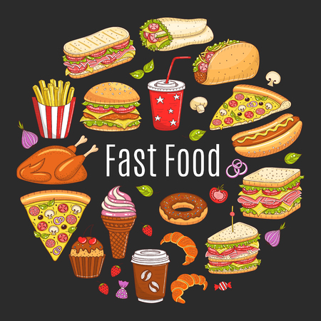 Vector sketch illustration of fast food circular shaped