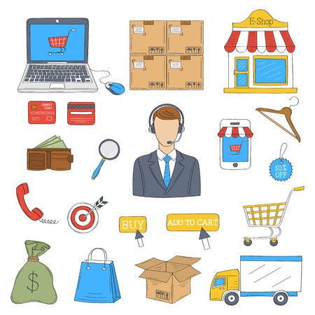 E-commerce and online shopping icons set.