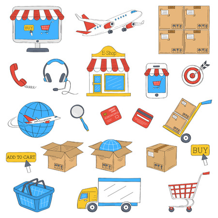 E-commerce and online shopping hand drawn icons set, vector illustration.