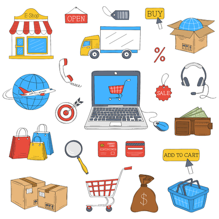 Online shopping hand drawn icons set, vector illustration.