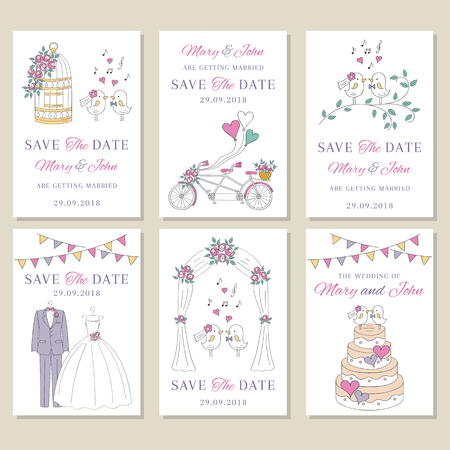 Vector set of wedding cards