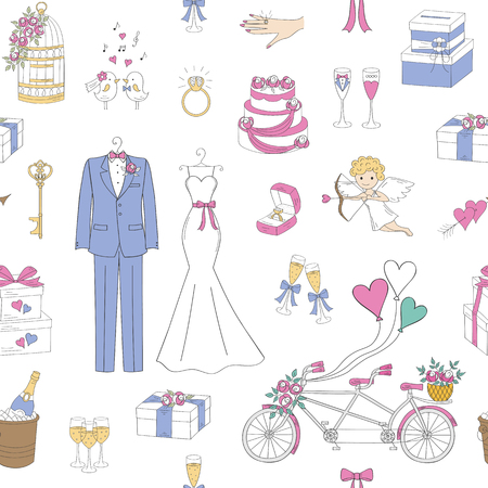 Vector wedding seamless background. 向量圖像
