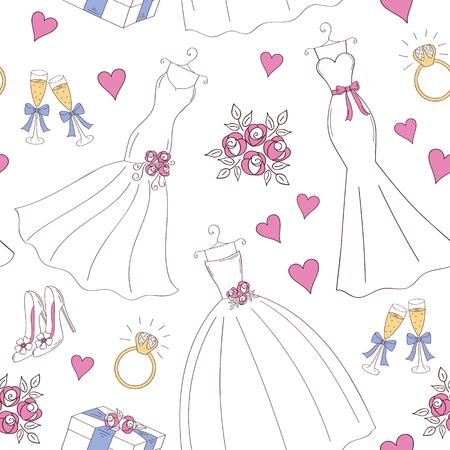 結婚式のベクトルのシームレス背景