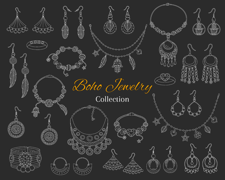 Fashionable boho jewelry accessories collection, vector hand drawn doodle illustration. 向量圖像