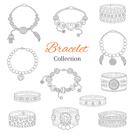Fashionable bracelets collection, vector hand drawn doodle illustration. Vectores